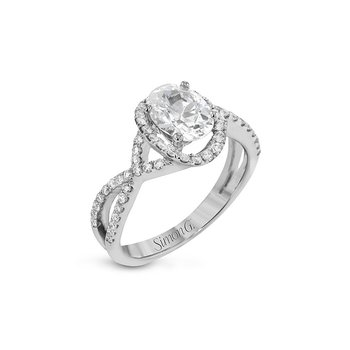 Twisted Oval Halo Engagement Ring Mounting