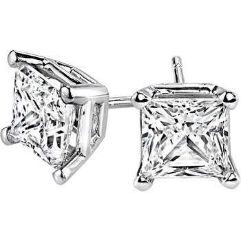 Princess-Cut Stud Earrings - 3/4cttw