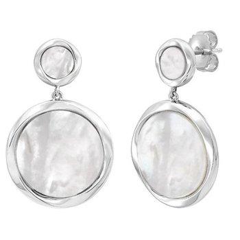 Mother Of Pearl Disc Dangle Earrings