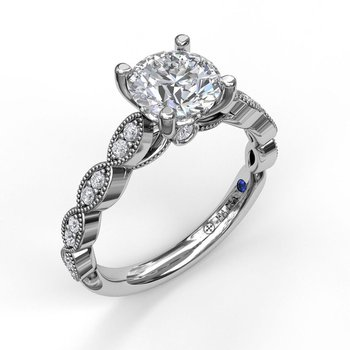 Engagement Ring Mounting with Vintage Miligrain Detail
