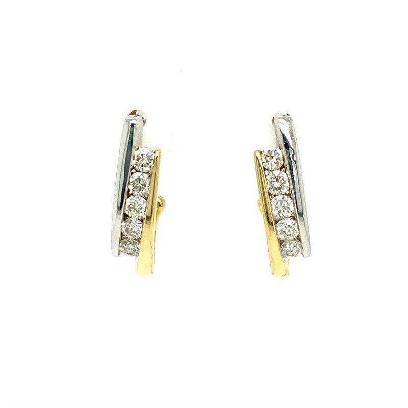 Lasker Diamond Fashion Bypass Channel Hoop Earrings