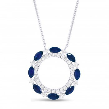 Sapphire & Diamond Cutout Circle Pendant