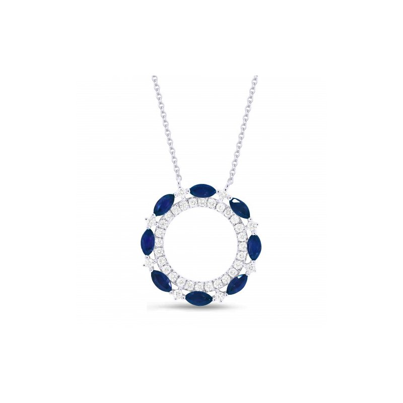 Lasker Gemstone Sapphire & Diamond Cutout Circle Pendant