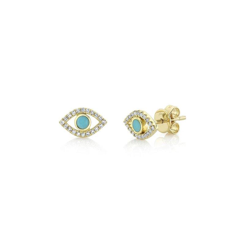 Lasker Gemstone Evil Eye Turquoise Earrings