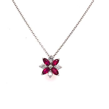 Flower Power Ruby and Diamond Pendant