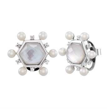 Pearl and White Sapphire Geometric Earrings