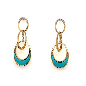 Dangle Earrings with Turquoise and Diamond