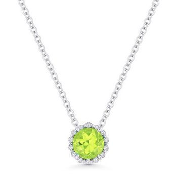 Peridot & Diamond Halo Pendant