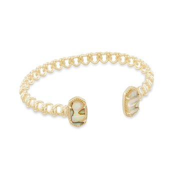 Macrame Elton Gold Cuff Bracelet In Nude Abalone