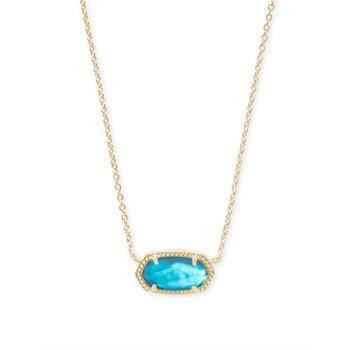 Elisa Satellite Gold Short Pendant Necklace In Turquoise Kyocera Opal