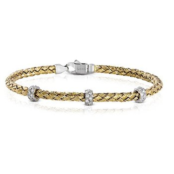 Woven Bracelet with Diamond Sections