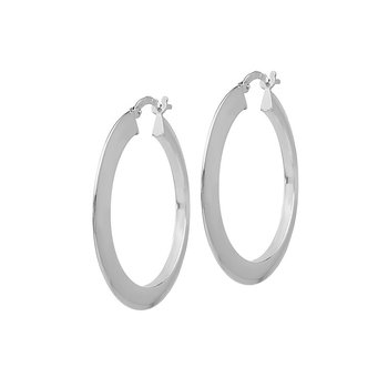 Silver Flat Hoop Earrings