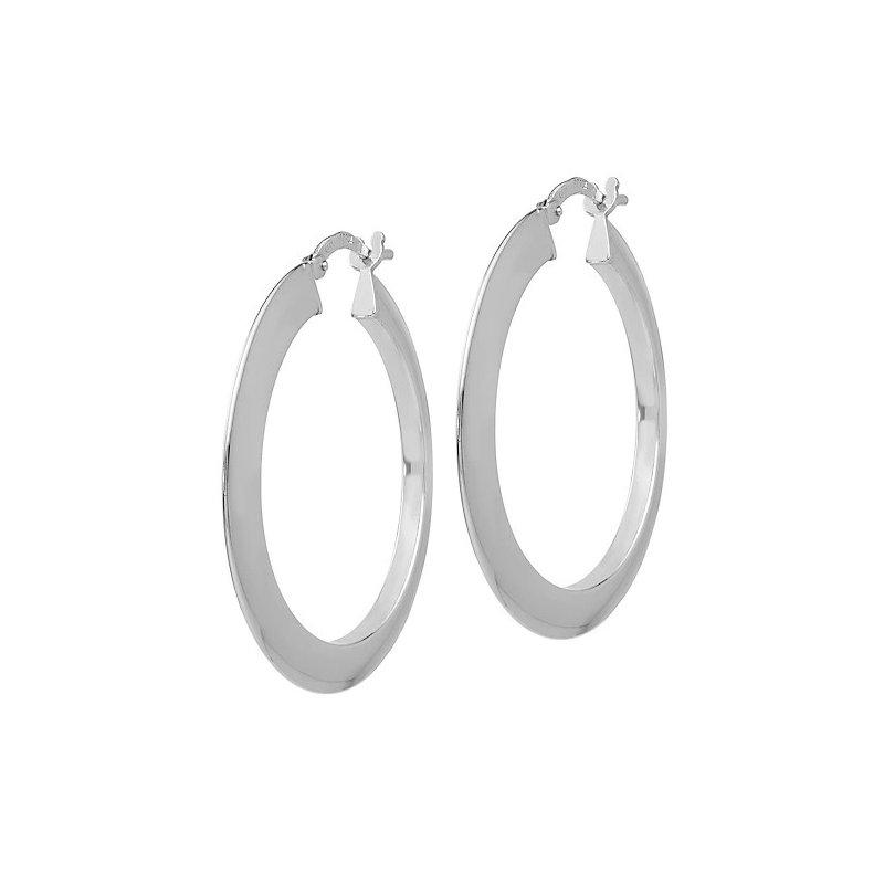 Lasker Signature Silver Flat Hoop Earrings
