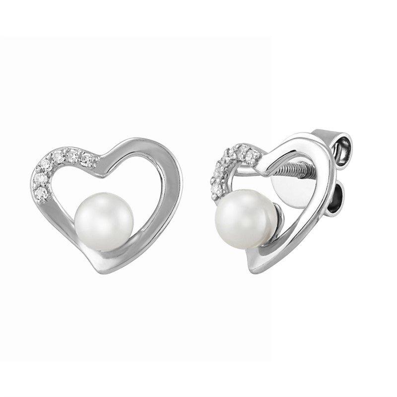 Lasker Pearl Fashion Diamond and Pearl Heart Earrings
