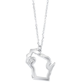Heart of Wisconsin Pendant - Sterling Silver