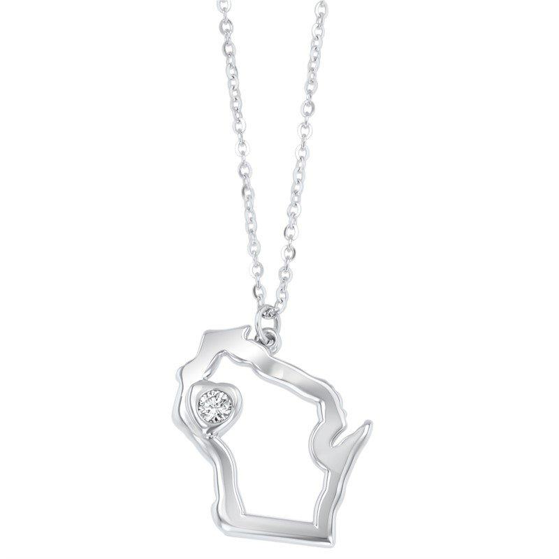 Lasker Signature Heart of Wisconsin Pendant - Sterling Silver