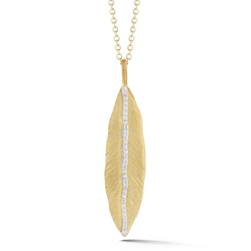 Lasker Gold Fashion Hammered Leaf Pendant With Diamonds