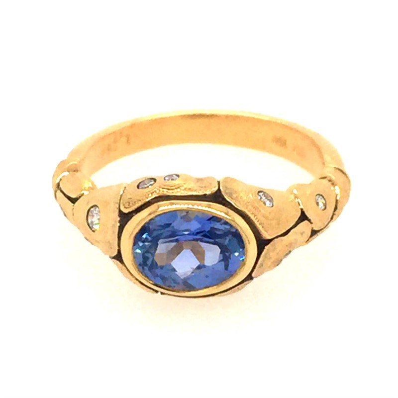 Alex Sepkus Turtle Ring with incredible oval Sapphire