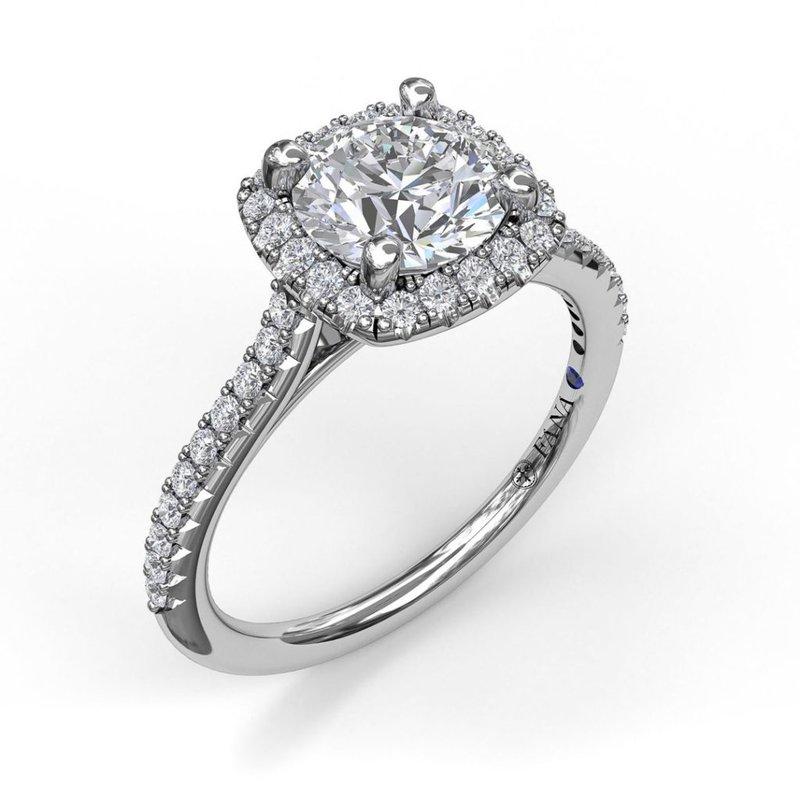Fana Classic Cushion Halo Engagement Ring Mounting