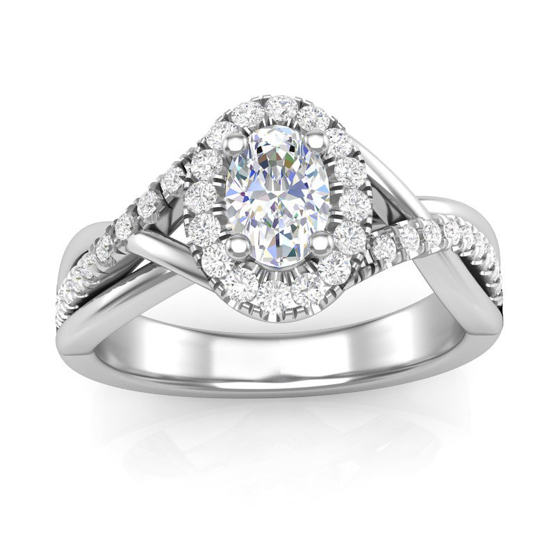 Lasker Bridal Oval Halo Bypass Ring