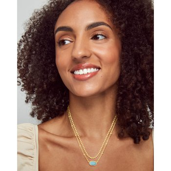 Emilie Gold Multi Strand Necklace In Light Blue Magnesite