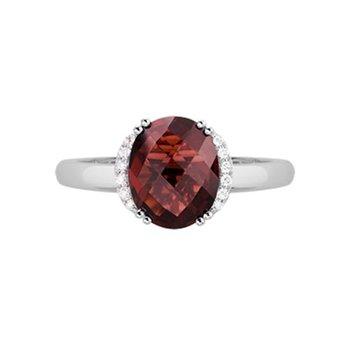 Oval Garnet & Diamond Ring