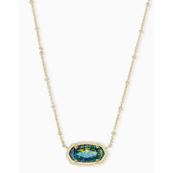 Elisa Yellow Satellite Pendant Necklace In Midnight Kyocera Opal Illusion