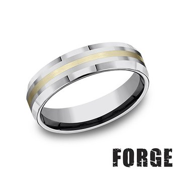6MM Beveled Tungsten & 18KT Yellow Gold Band