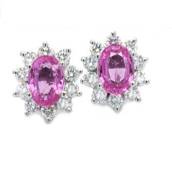 Oval Pink Sapphire & Diamond Earrings