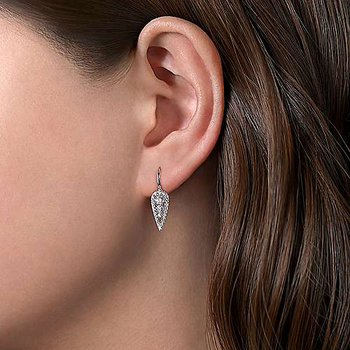 14K White Gold Long Cluster Teardrop Leverback Diamond Earrings