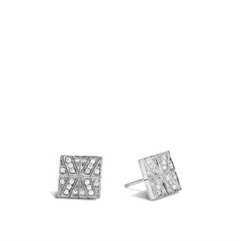Modern Chain Stud Earring with Diamonds