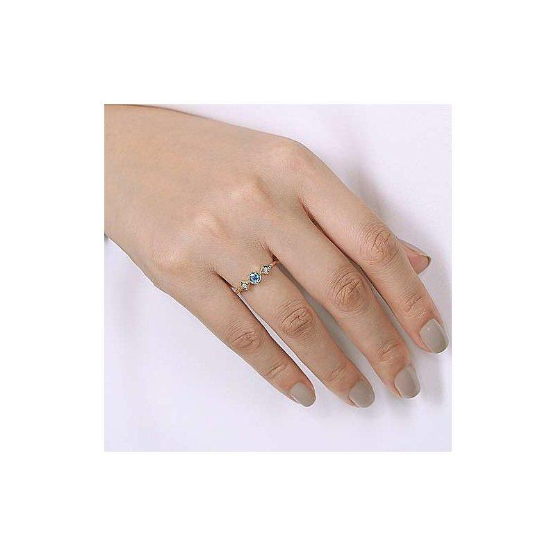 Gabriel Fashion 14K Yellow Gold Round Blue Topaz and Diamond Three Stone Ring