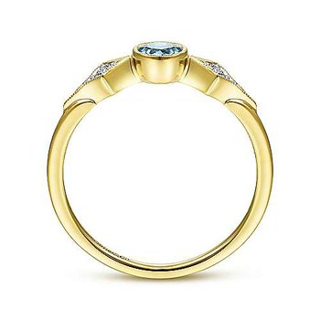 14K Yellow Gold Round Blue Topaz and Diamond Three Stone Ring