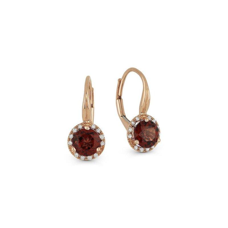 Lasker Gemstone Round Garnet and Diamond Drop Earrings