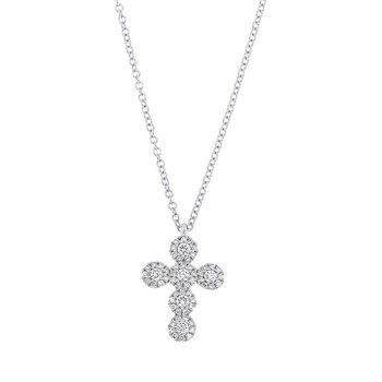 Tiny Diamond Pave Cross Pendant