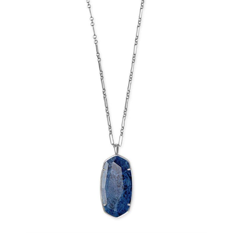 Kendra Scott Faceted Reid Vintage Silver Long Pendant Necklace In Navy Wood