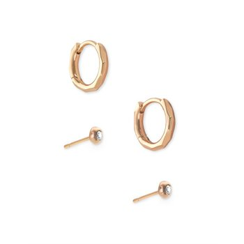 Addison Huggie & Stud Earrings Set In Rose Gold