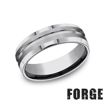 7MM Center Cut Tungsten Band with Beveled Edge