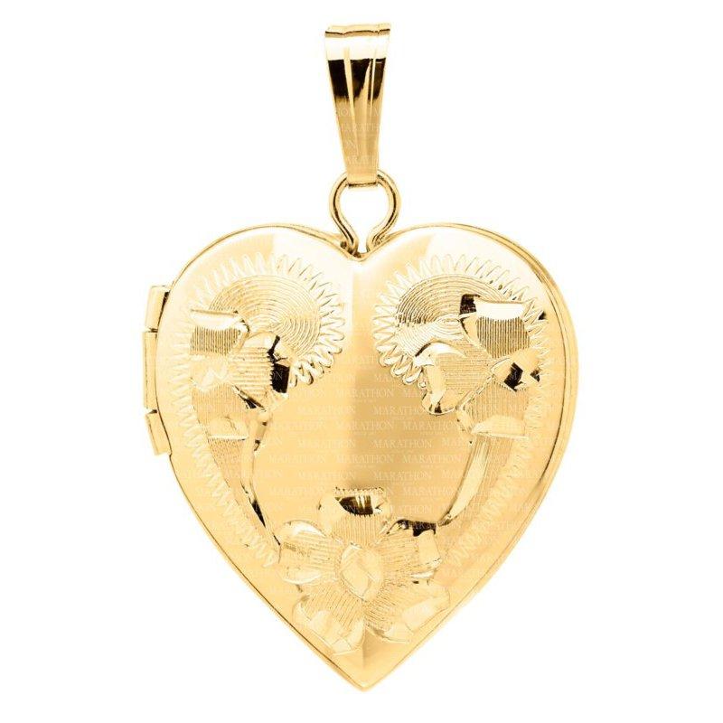 Lasker Gold Fashion 16x14mm Engraved Heart Locket