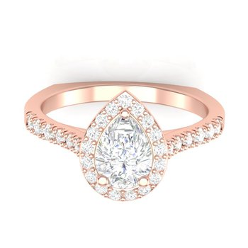 Classic Pear-Shape Halo Ring - 1/2ct Center Diamond