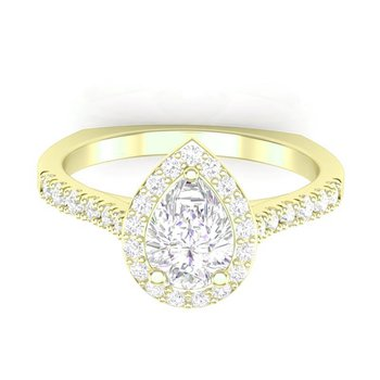 Classic Pear-Shape Halo Ring - 1/2ct Center Diamond