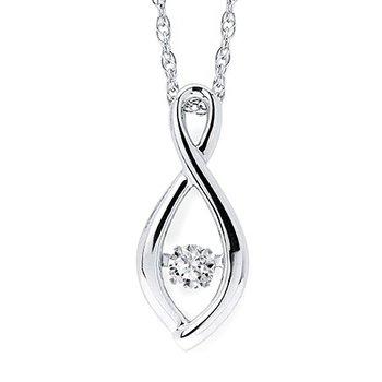 Sterling Silver Shimmering Diamond Pendant