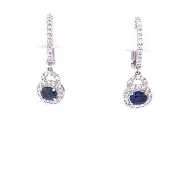 Sapphire & Diamond Halo Hoop Earrings