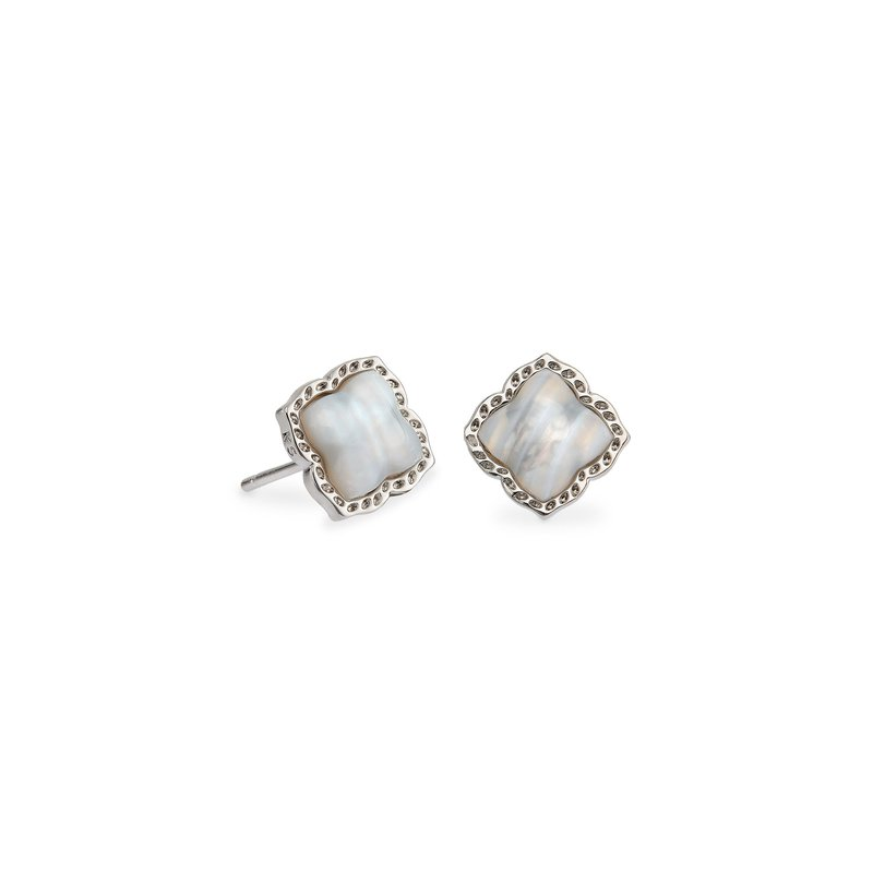 Kendra Scott Kendra Scott Mallory Stud Earring Rhodium Gray Banded Agate