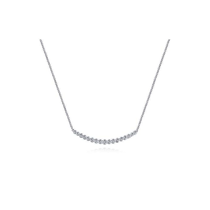 Gabriel Fashion 14K White Gold Curved Bar Necklace with Bezel Set Round Diamonds