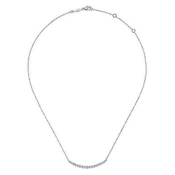 14K White Gold Curved Bar Necklace with Bezel Set Round Diamonds