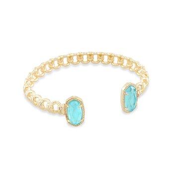 Macrame Elton Gold Cuff Bracelet In Aqua Illusion