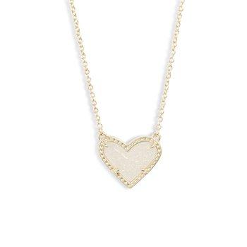 Ari Heart Pendant in Iridescent Drusy