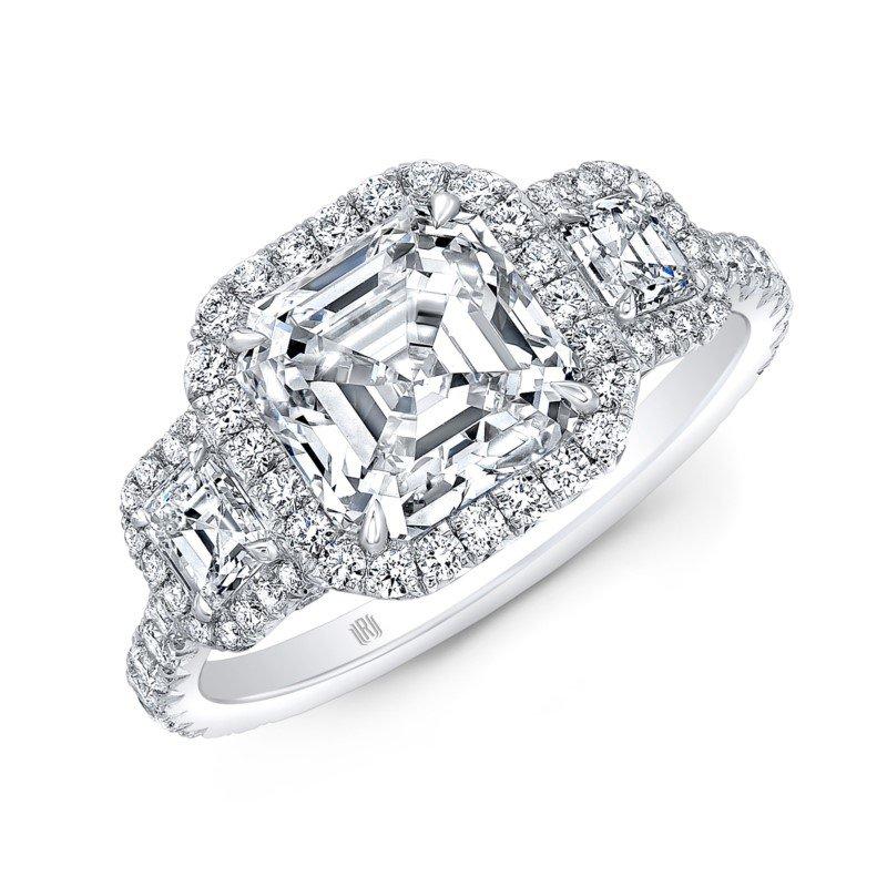 Lasker Bridal Asscher Cut Halo Three Stone Ring