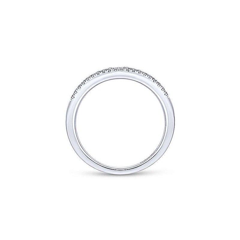 Gabriel Fashion 14K White Gold Curved Pavé Diamond Ring